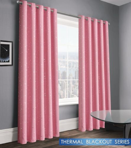 STARS STARLIGHT GIRLS KIDS BEDROOM THERMAL BLACKOUT RINGTOP EYELET CURTAINS BABY PINK